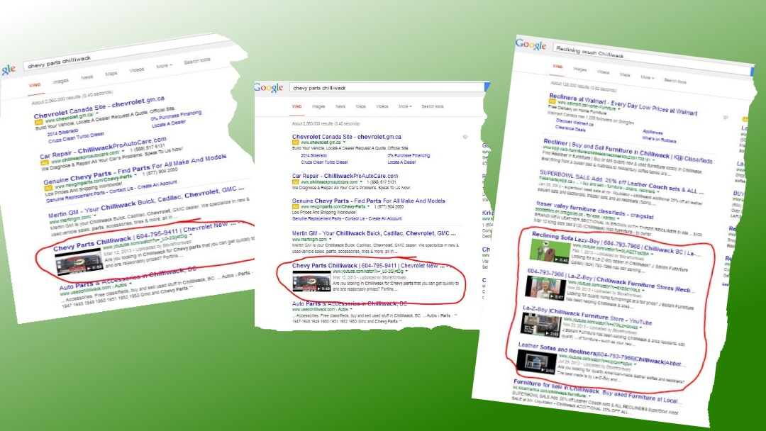 Samples screenshots of winning videos on page one of Google